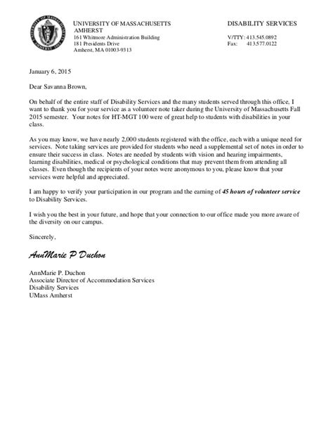 Volunteer Service Verification Letter community service letter