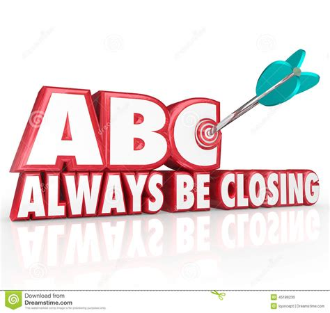 Closing Letter With Always Abc Always Be Closing Target 3d Words Aiming Arrow Bulls Eye Stock Illustration Image 45186230