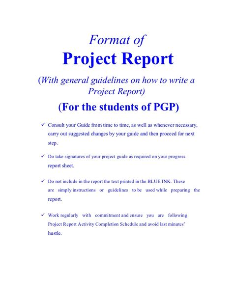 project report format by vishal