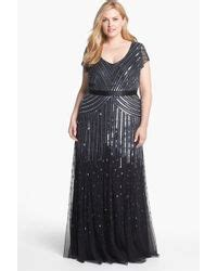 adrianna papell cap sleeve sequined gown in silver