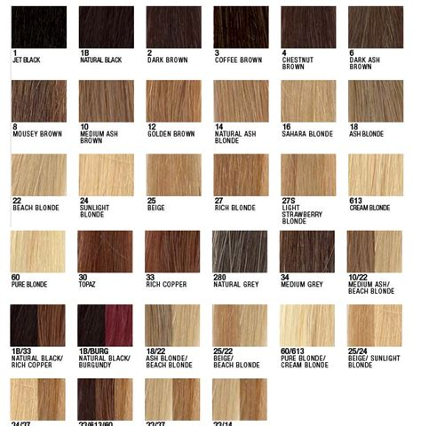 hair extension color chart pukka hair extensions colour chart weft hair