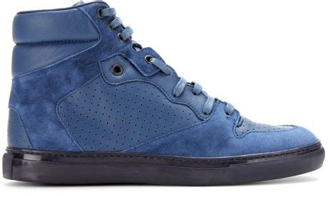 blue suede balenciaga sneakers balenciaga leather and suede hightop sneakers in blue