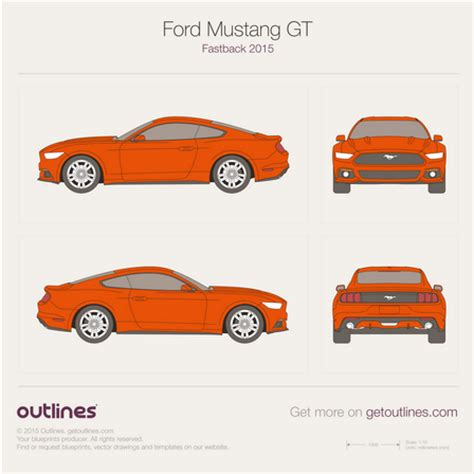 2015 ford mustang drawings outlines