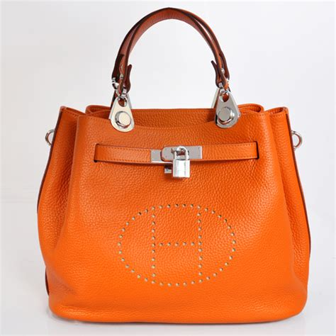 Togo Mini 22cm hermes mini so bag in orange with silver hardware