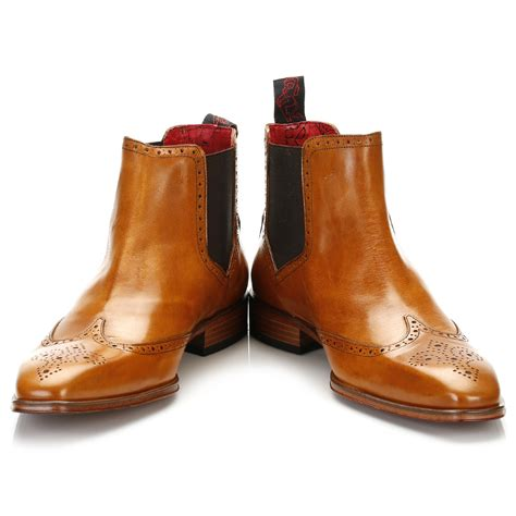 Brogue Chelsea Boots jeffery west mens honey brown brogue chelsea boots pull on