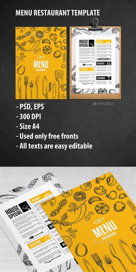 food menu card templates cafe and restaurant template by barcelonadesignshop