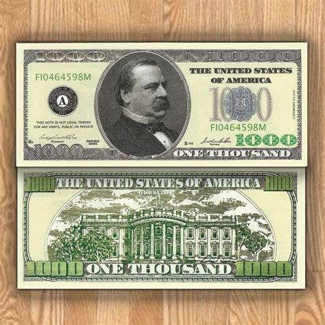 one thousand lot of 5 cleveland 1000 one thousand dollar bill