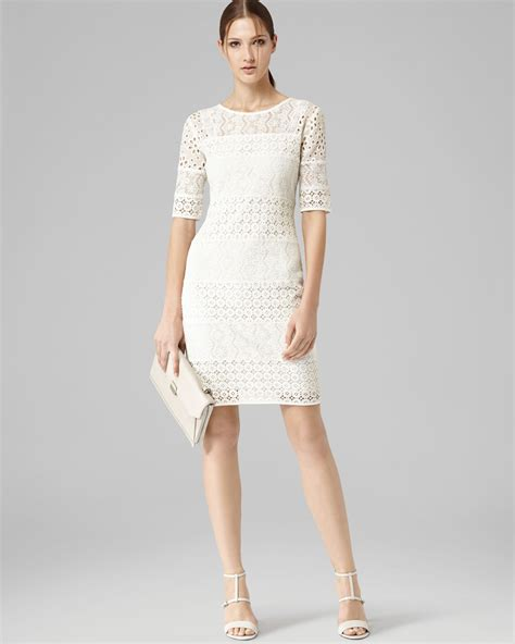 30580 Lace Dress White reiss dress lace shift in white lyst