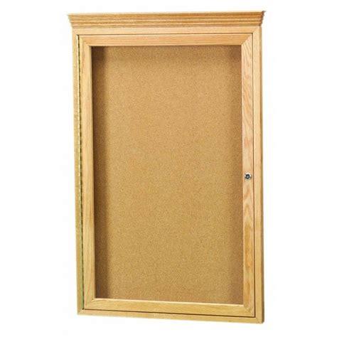 oak frame 1 door enclosed bulletin board cabinet w crown