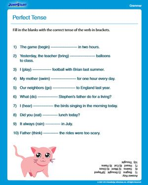 perfect tense free english worksheet for 3rd graders