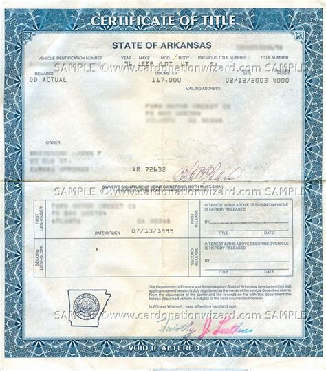Car Title Types by Arkansas Title Transfer Donate A Car In Ar On Car