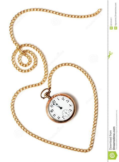 heart chain with old pocket watch stock image image