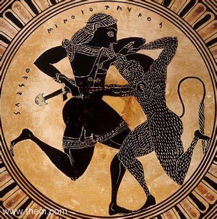 theseus & minotaur ancient greek vase painting