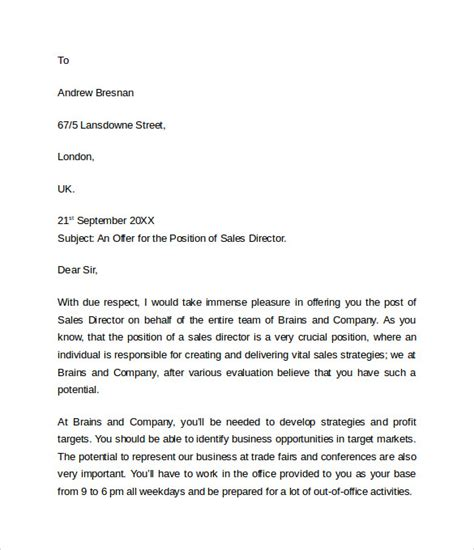 Offer Letter Format Sle Offer Letter Templates 11 Free Exles Format