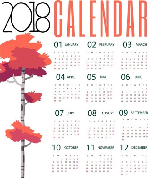 Calendario 2018 Illustrator 2018 Calendar Background Autumn Tree Design Free Vector In