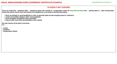 Mba Project Report On Visual Merchandising by Experience Certificate Sle For Merchandiser Images