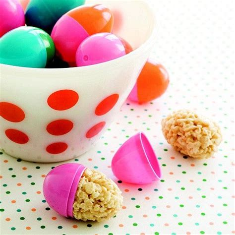 stuff plastic easter eggs with still soft crisped rice cereal treats food pinterest