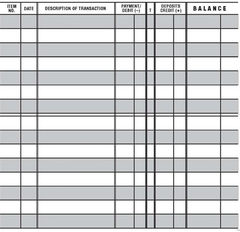 bank transaction register template 5 printable check register templates formats exles