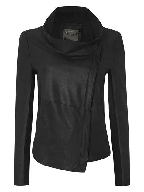 leather drape jacket lugano black bonded jersey leather drape jacket