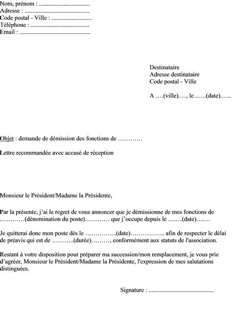 Exemple Lettre De Demission Nounou A Domicile exemple de lettre d 233 mission association loi 1901 simple html