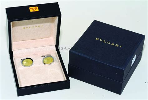 Bulgari Made In Singapore 2 bulgari made in italy oval cuff links with yellow lacquer
