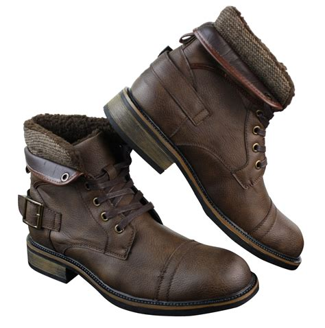 mens buckle biker boots mens pu leather fleece lace ankle combat buckle military