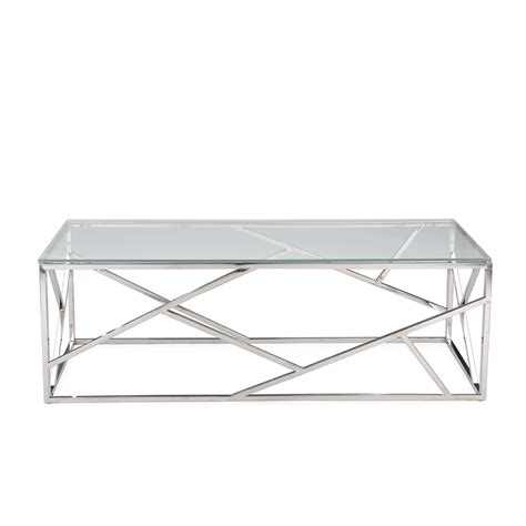 Glass And Chrome Coffee Table Aero Chrome Glass Coffee Table Modern Furniture Brickell Collection