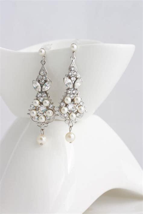 pearl chandelier earrings wedding pearl and wedding earrings vintage bridal earrings