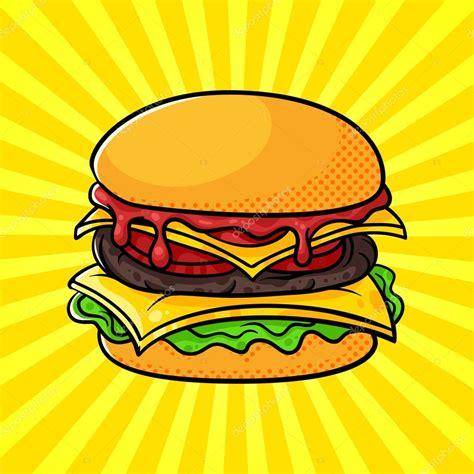 imágenes retro soda vector hand drawn pop art illustration of hamburger