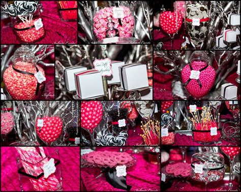 Glam Fuchsia Pink Black White Candy Buffet By Infinite Pink And Black Buffet