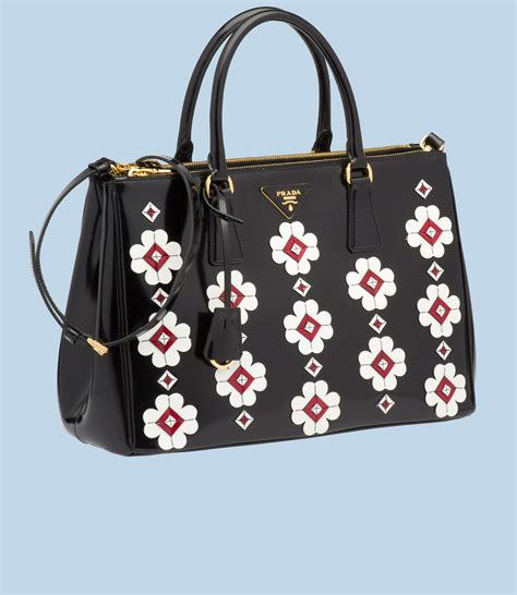 Prada Purse by Prada Flowers Brushed Calf Leather Tote All Handbag