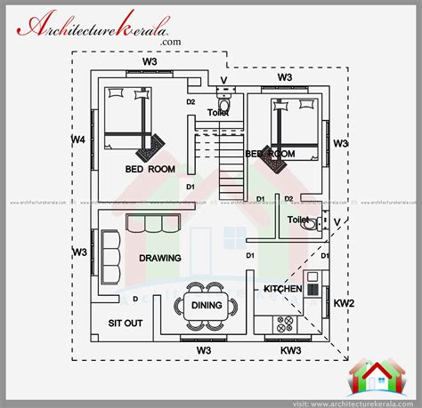 kerala home design 700 sq ft 2 bedroom house plan and elevation in 700 sqft