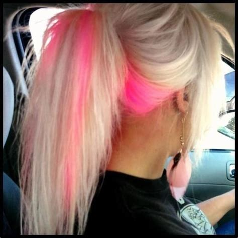 blone hair with pink streaks birthday wishes highlights and peekaboo highlights on