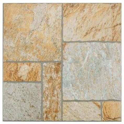 Home Depot Porcelain Floor Tile by Merola Tile Sunset Gold 13 1 2 In X 13 1 2 In Porcelain