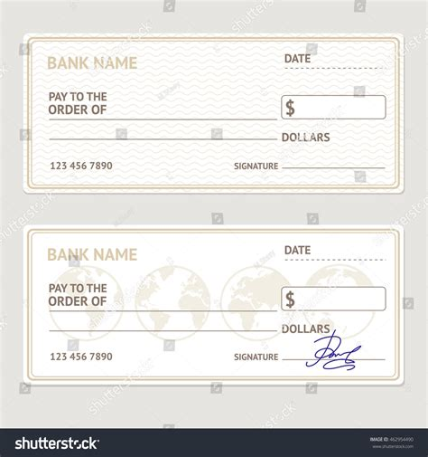 bank check template set blank form lager illustration