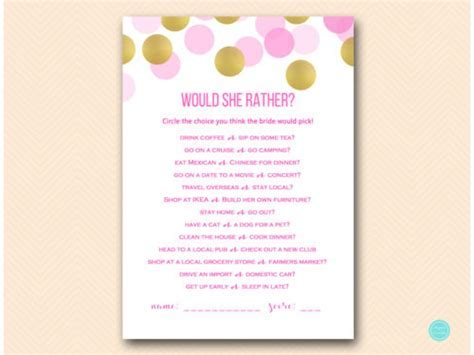 Hot Pink and Gold Bridal Shower Game Printable   Magical