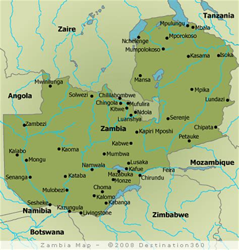 zambia map sambia karte routen