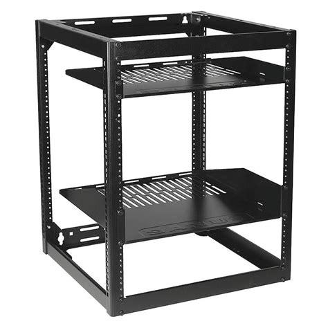 15u Rack sanus 15u stackable or wall mountable skeleton rack black