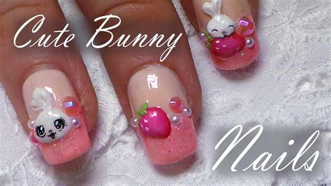 tutorial nail art strawberry cute bunny strawberry nail art tutorial easy 3d