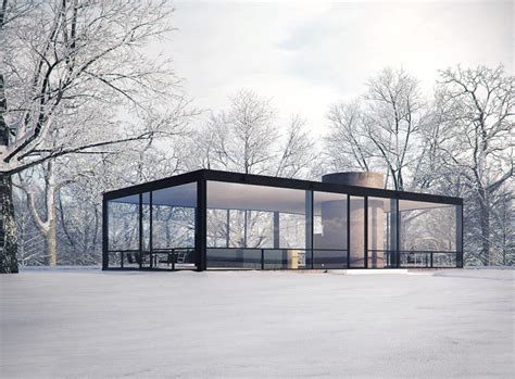 philip johnson glass house covered in snow magical mid