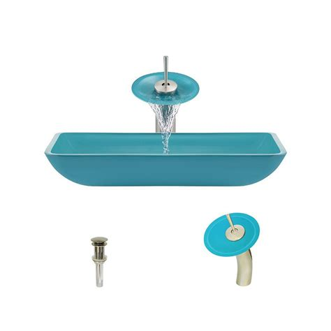 mr direct vessel sinks vigo rectangular glass vessel in turquoise water with