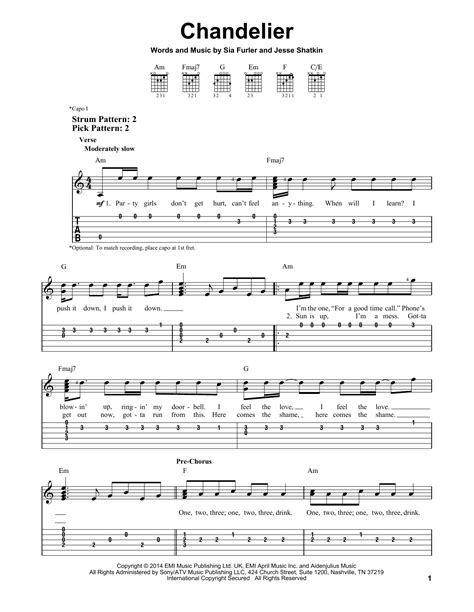 Sia Chandelier Chords Chandelier Sheet By Sia Easy Guitar Tab 157940