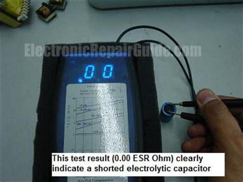 testing shorted capacitor esrmeter