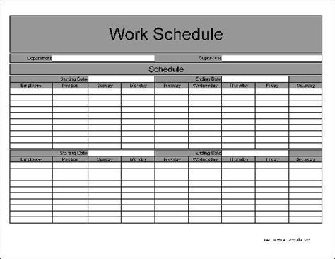 employee bi weekly work schedule template templates