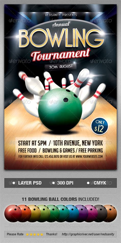 bowling tournament flyer psd flyer templates flyer