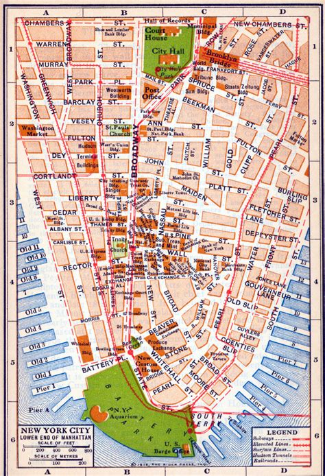 map of lower usa detailed road map of new york city of lower manhattan