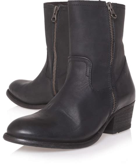h by hudson black leather low heel ankle boots in