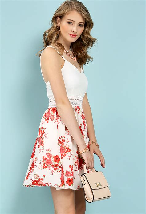 Dress Flare Mini floral mini flare dress shop dresses at papaya clothing