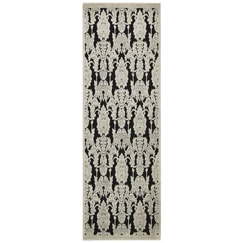 8 ft runner rug nourison graphic illusions black 2 ft 3 in x 8 ft rug runner 145499 the home depot