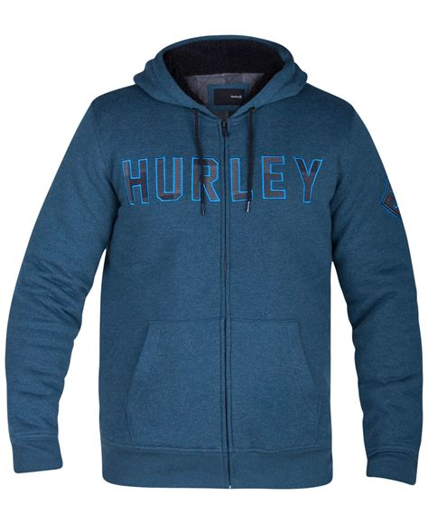 Zipper Sweater Hurley 649 hurley s graphic print zip up hoodie in blue for lyst